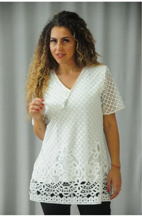 Bluze din dantela elegante - Bluza de dama din dantela Karina alb 0