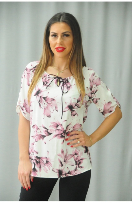 Bluze ieftine dama - Bluza cu imprimeu floral Karina BLOI alb