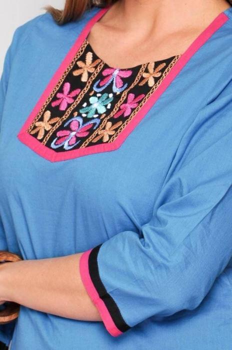 Camasa lunga de vara din bumbac HHG, turquoise 3