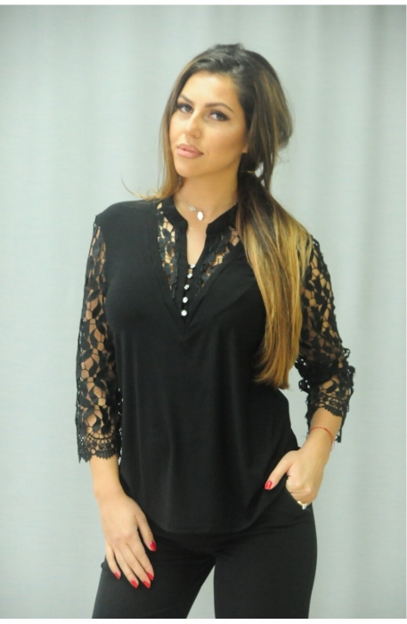 Bluze elegante din dantela - Bluza de dama cu dantela neagra 0