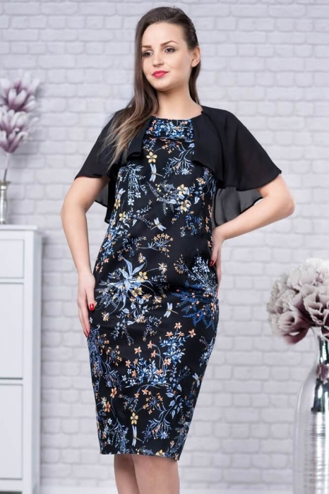 Rochie midi cu pelerina si imprimeu floral Linda negru 0