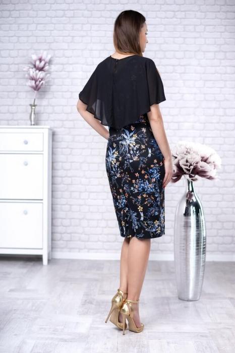 Rochie midi cu pelerina si imprimeu floral Linda negru 2