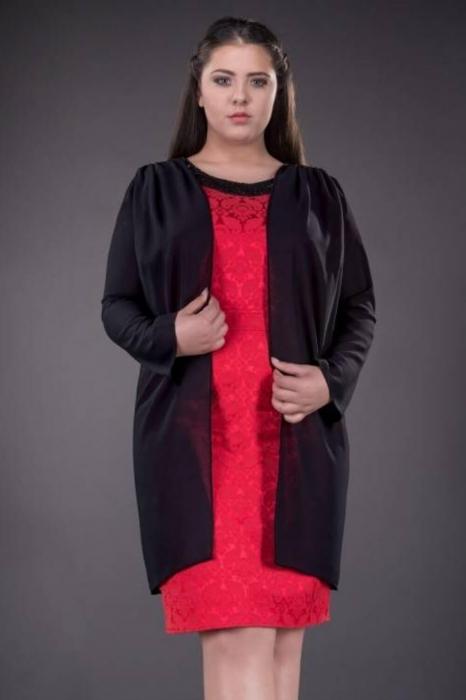 Blazere elegante din voal - Blazer dama lung din voal Inna negru 1