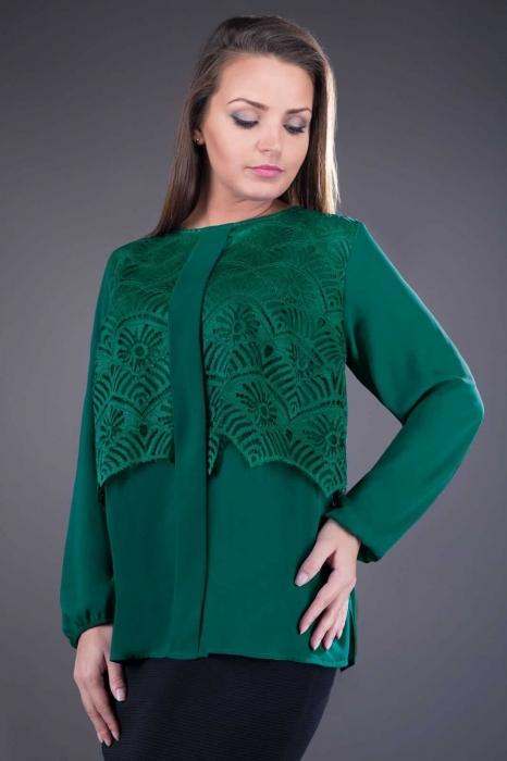 Bluze de ocazie din dantela XXL - Bluza din dantela si voal Ofelia verde 0