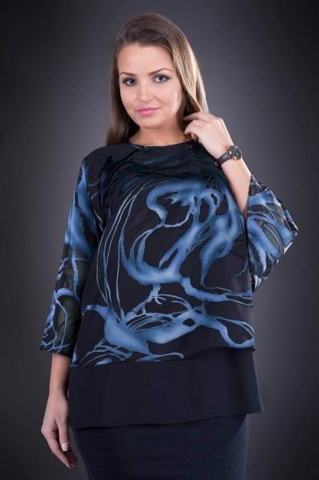 Bluze dama elegante - Bluza XXL din voal Doina negru/albastru 0