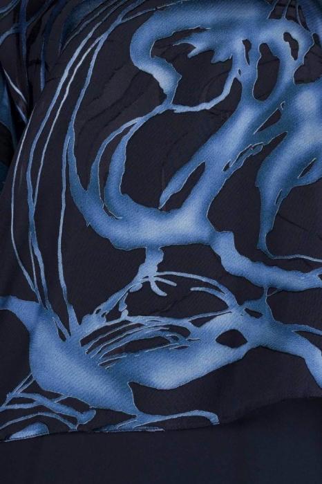 Bluze dama elegante - Bluza XXL din voal Doina negru/albastru 1