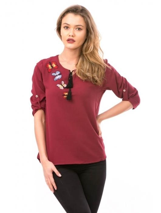 Bluze dama ieftine - Bluza de dama cu broderie fluturi Maria bordeaux 0