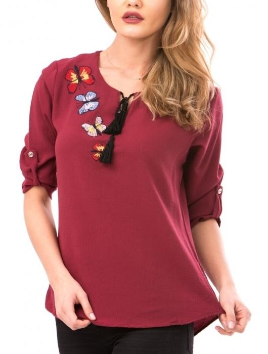 Bluze dama ieftine - Bluza de dama cu broderie fluturi Maria bordeaux 1