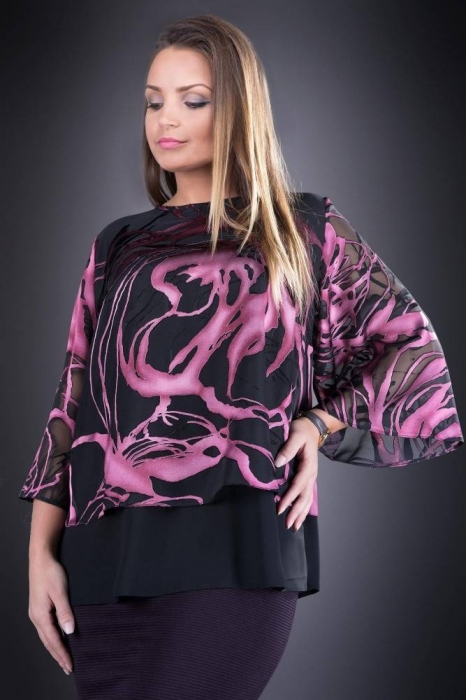 Bluze dama elegante-Bluza XXL din voal Doina negru/roz
