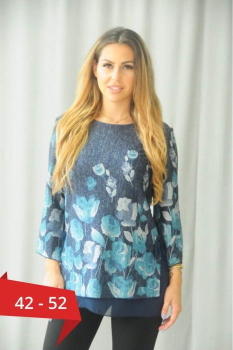 Bluze elegante XXL - Bluza eleganta marimi mari Karina albastru 0
