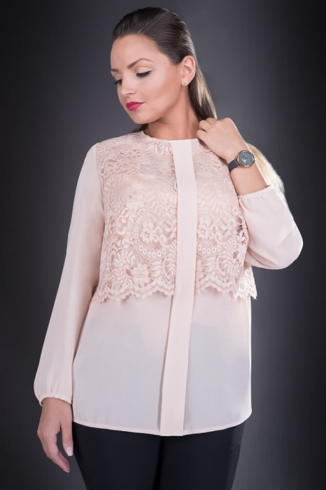 Bluze elegante din dantela - Bluza de dama din dantela Ofelia crem
