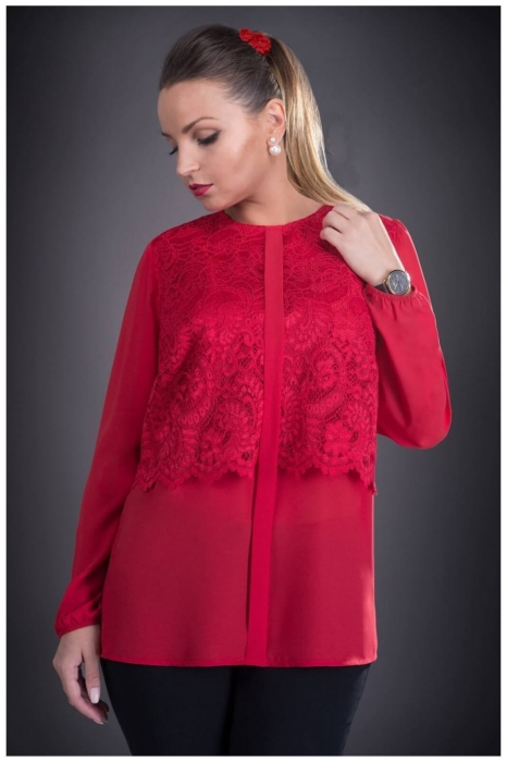 Bluze elegante marimi mari -Bluza din voal cu dantela Ofelia rosu 0