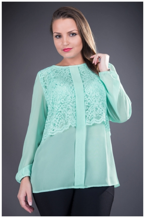 Bluze elegante din dantela - Bluza dantela si voal Ofelia verde