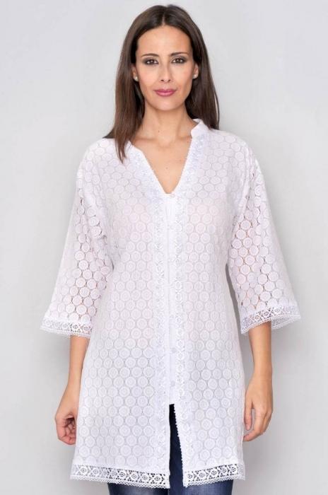 Bluza tip tunica de vara din bumbac cu broderie, alb 0