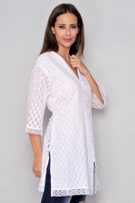 Bluza tip tunica de vara din bumbac cu broderie, alb 1