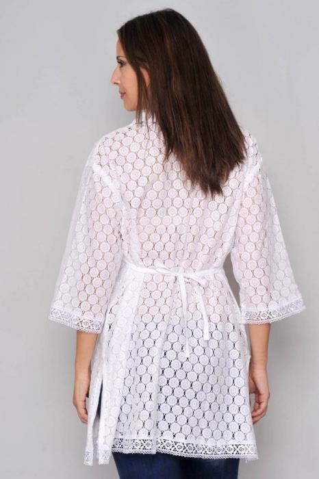 Bluza tip tunica de vara din bumbac cu broderie, alb 2