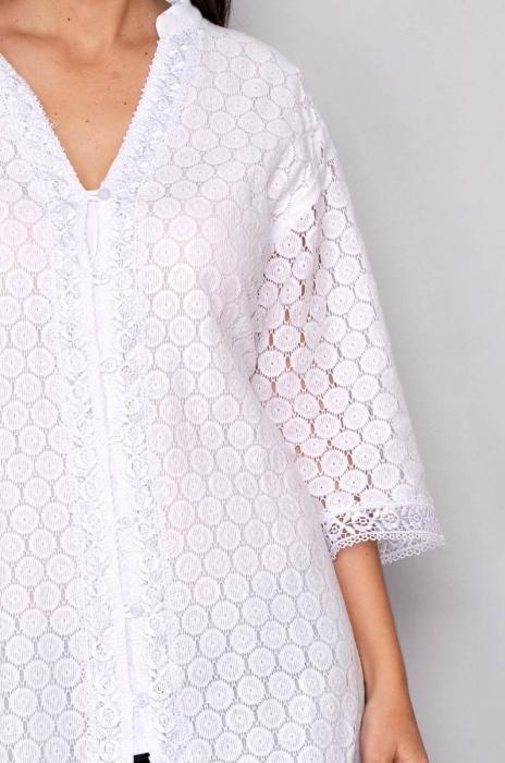 Bluza tip tunica de vara din bumbac cu broderie, alb 3