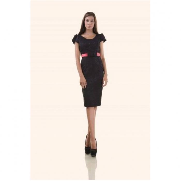 Compleu dama compus din rochie midi si taior, negru/ciclam 2