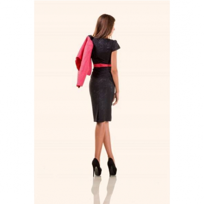 Compleu dama compus din rochie midi si taior, negru/ciclam 3