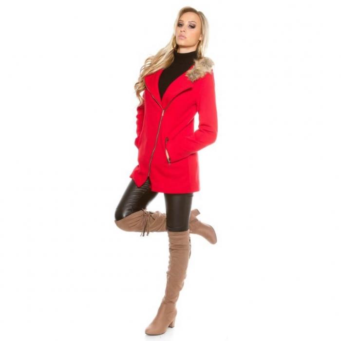 Palton rosu primavara - Haina scurta cu gluga imblanita Karin rosu 0