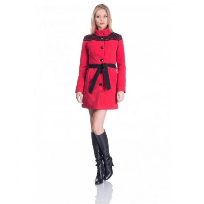 Palton din stofa cu aplicatii dantela, rosu/negru