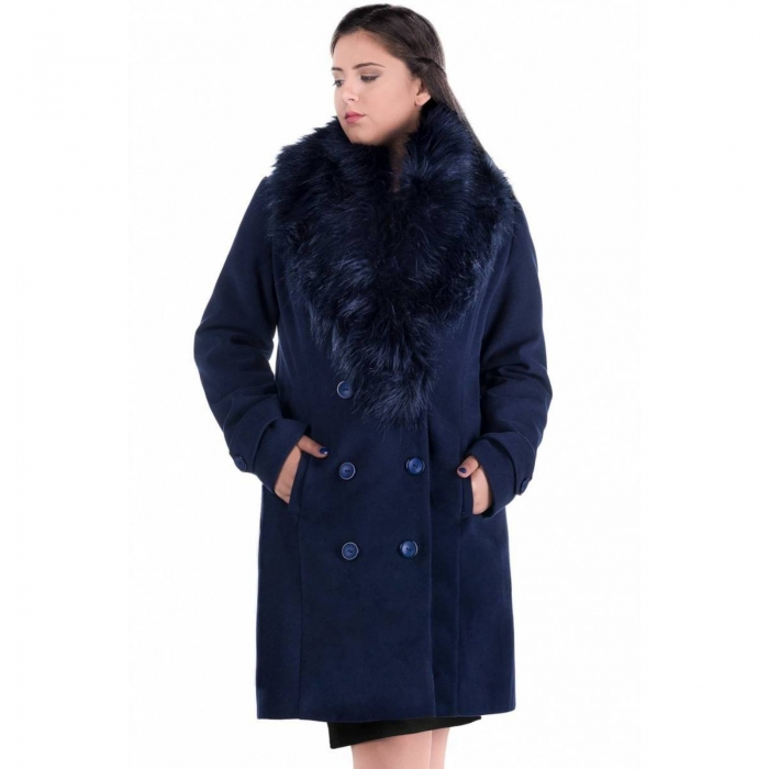 Palton elegant cu guler din blana Ambra, bleumarin