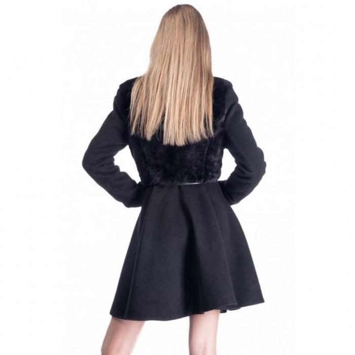 Palton elegant scurt, dama, aplicatie blanita, negru