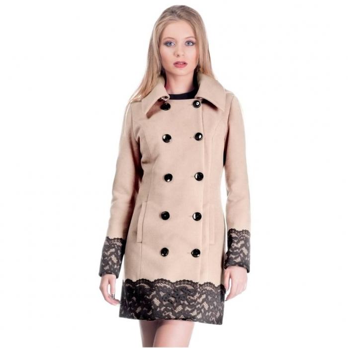 Palton scurt elegant CEZARA, aplicatie dantela, bej 1