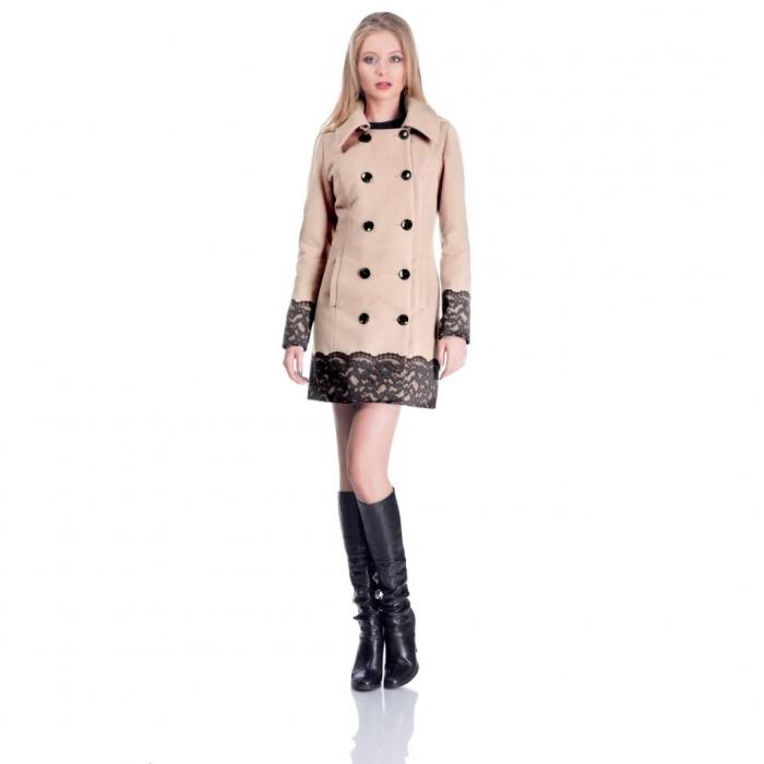 Palton scurt elegant CEZARA, aplicatie dantela, bej 0