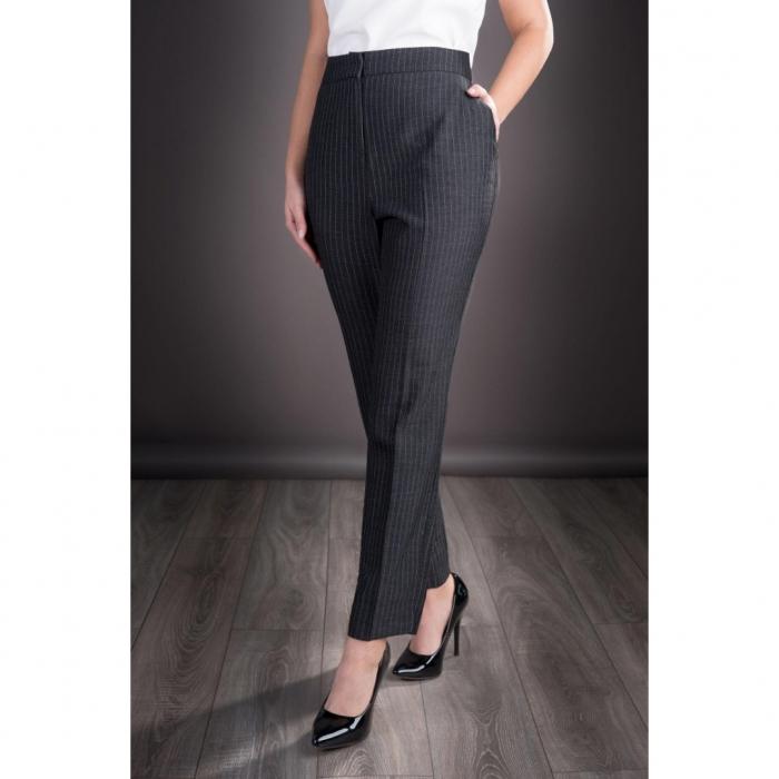 Pantaloni dama eleganti din stofa Roxana, gri inchis