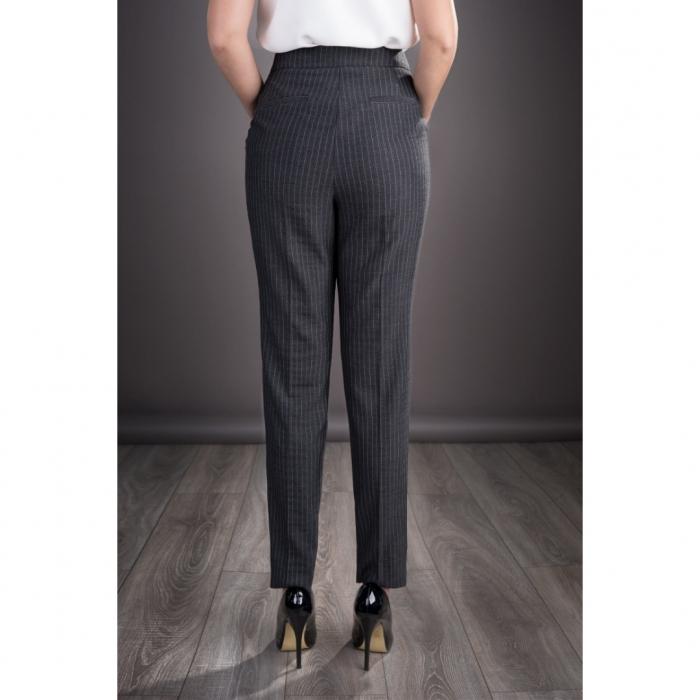 Pantaloni dama eleganti din stofa Roxana, gri inchis 1