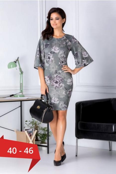 Rochii XXL ieftine-Rochie midi de zi cu imprimeu floral Melania verde 0