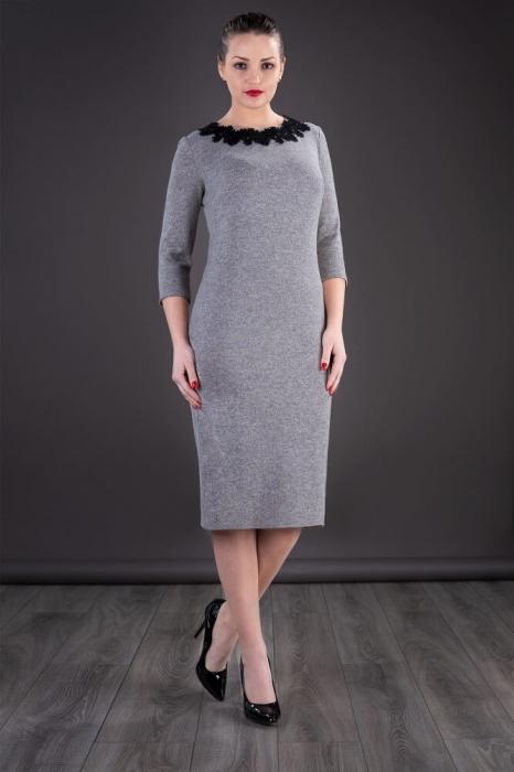 Rochii XXL ieftine-Rochie midi de zi din tricot Penelope gri