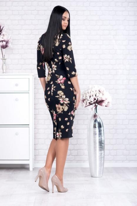 Rochii clasice de zi - Rochie de zi cu imprimeu floral marimi mari Ariela 1
