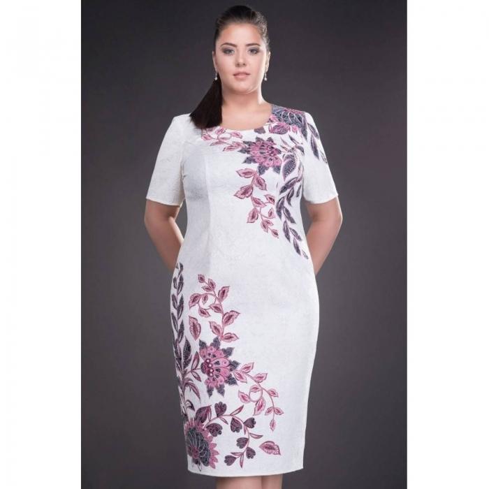 Rochie de ocazie cu imprimeu floral Cristina, alb 1
