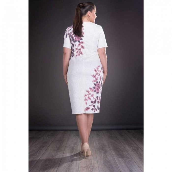 Rochie de ocazie cu imprimeu floral Cristina, alb 2