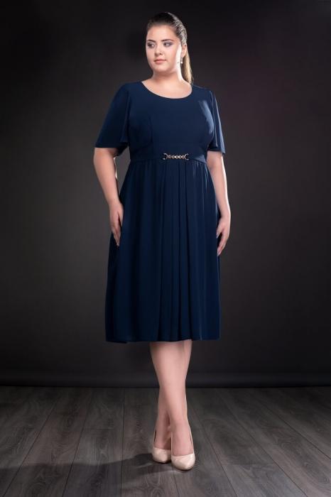 Rochii de seara doamne peste 50 ani - Rochie din voal Lucinda bleumarin 0
