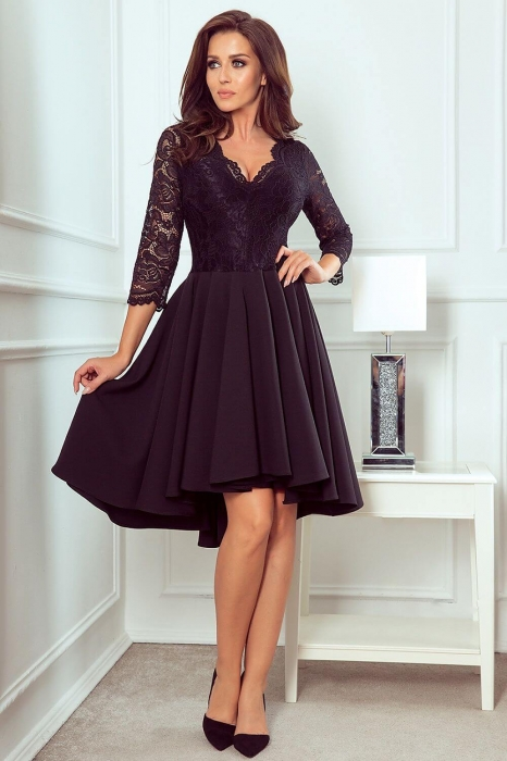 Rochii elegante dantela - Rochie de seara asimetrica din dantela Nicolle, negru 0