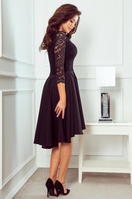 Rochii elegante dantela - Rochie de seara asimetrica din dantela Nicolle, negru 2