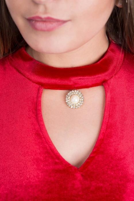 Rochii de catifea - Rochie scurta de seara din catifea Iris rosu 3