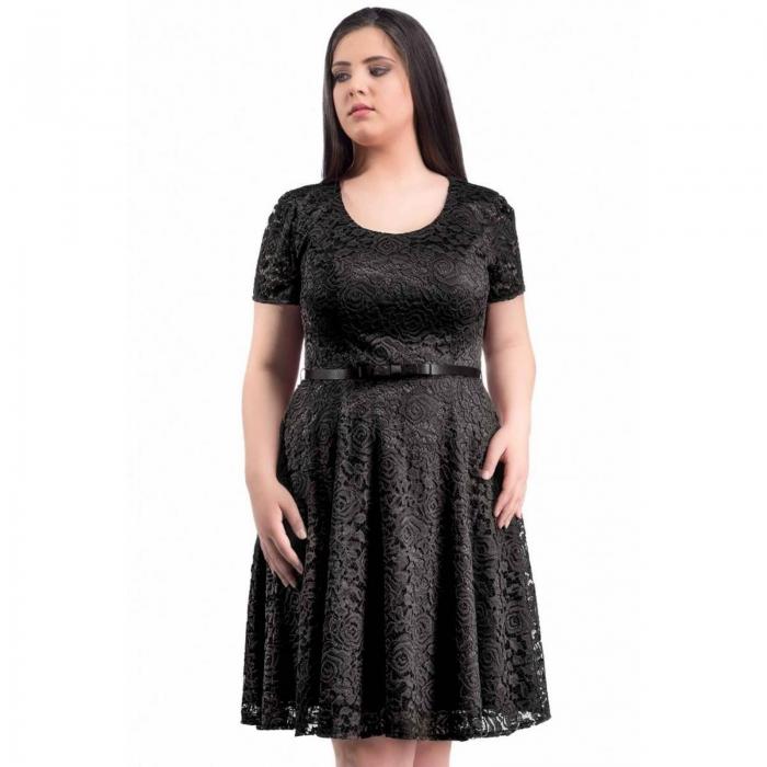 Rochii dantela scurte - Rochie eleganta din dantela marimi mari Sonia negru 1