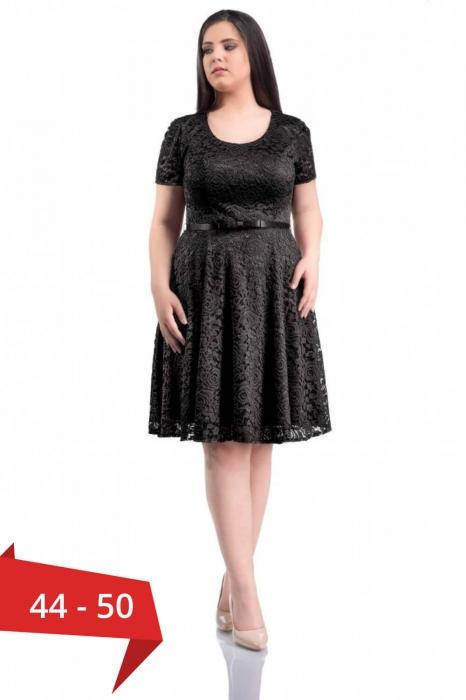 Rochii dantela scurte - Rochie eleganta din dantela marimi mari Sonia negru 0