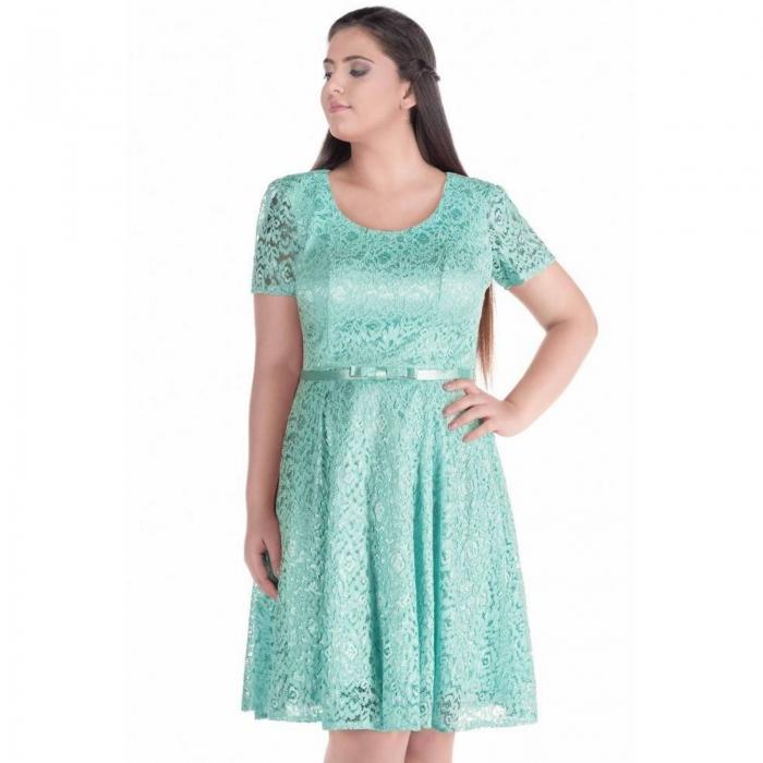 Rochii dantela scurte - Rochie eleganta din dantela Sonia verde aqua