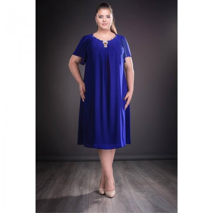 Rochie de ocazie din voal marimi mari Renata albastru