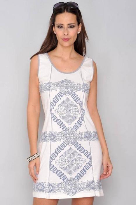 Rochie de vara din bumbac cu imprimeu HHG Spania, alb 0