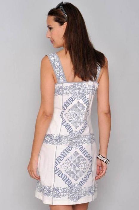 Rochie de vara din bumbac cu imprimeu HHG Spania, alb 2