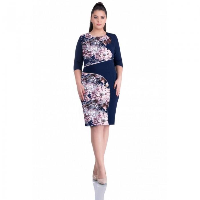Rochii casual-Rochie de zi cu imprimeu floral ALINA bleumarin