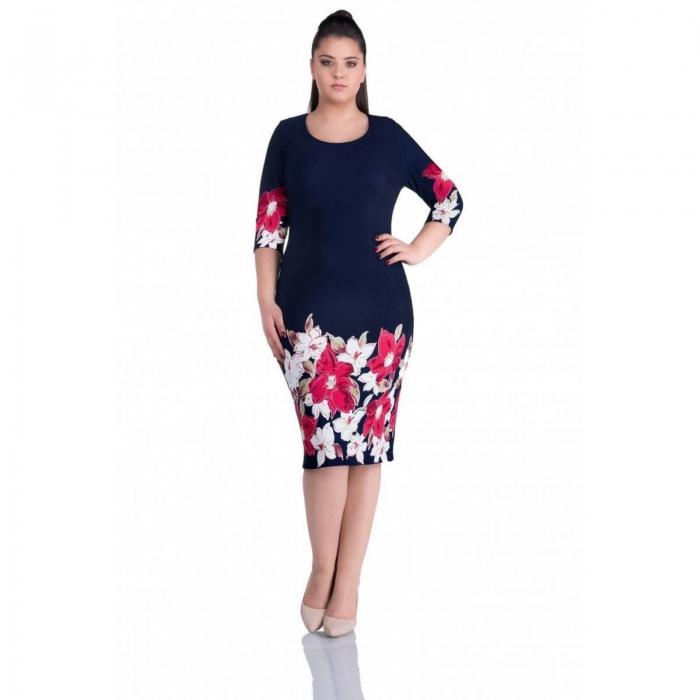 Rochii de zi - Rochie casual cu imprimeu floral Anisoara bleumarin