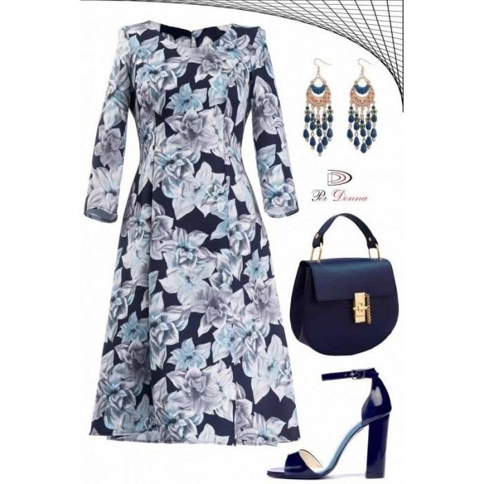 Rochie de zi cu imprimeu floral Cali Per Donna bleumarin
