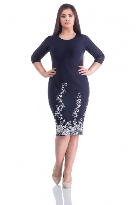 Rochii de zi femei plinute - Rochie de zi imprimeu floral Maia bleumarin 0